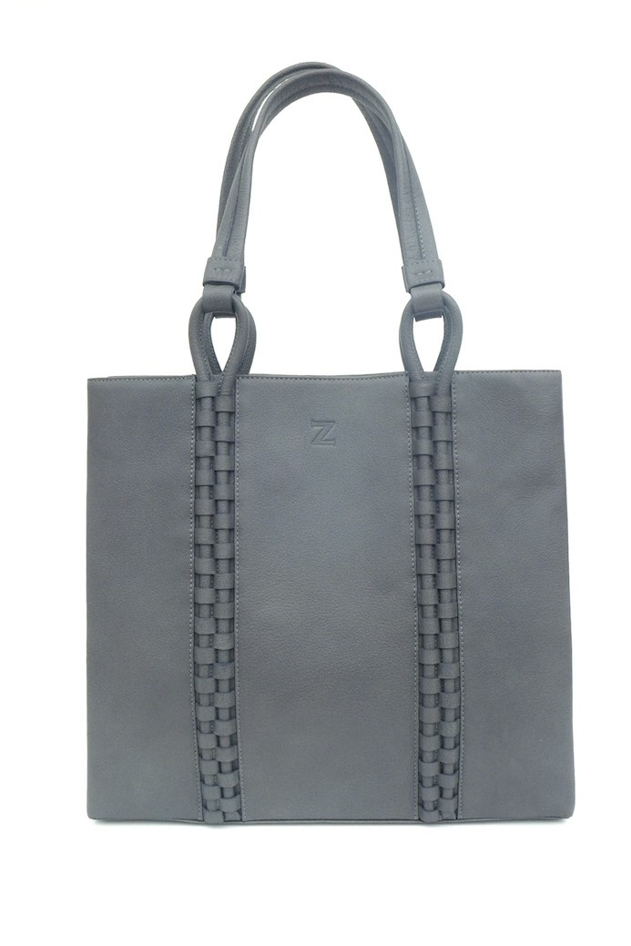 TATYZ medium textured-leather tote (grey)