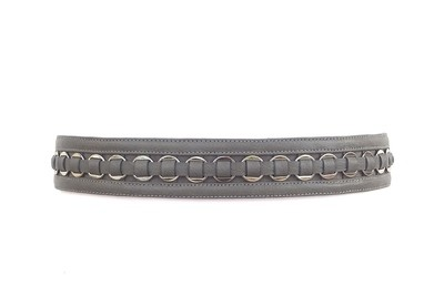 Ring-embellished leather and suede waist belt (grey)