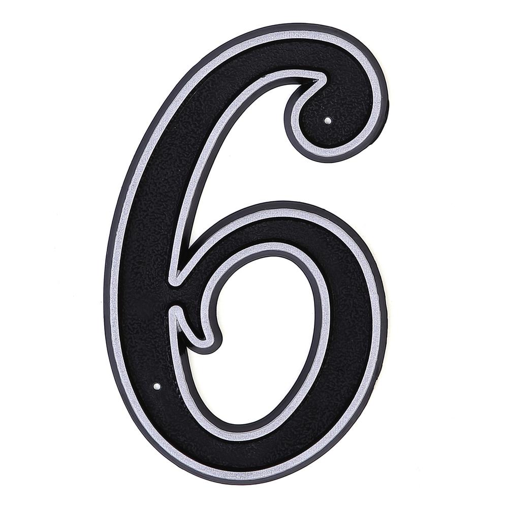 """Цифра дверная """"6"""" пластиковая."""