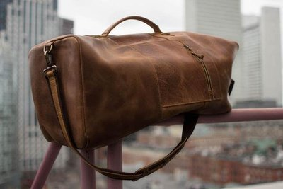 Retro Military Style Leather Duffle Bag