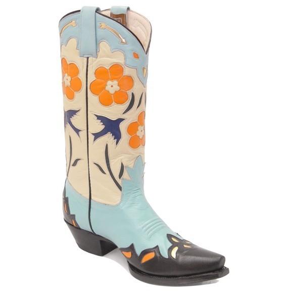 Bluebird Fancy Boots Turquoise & Bone