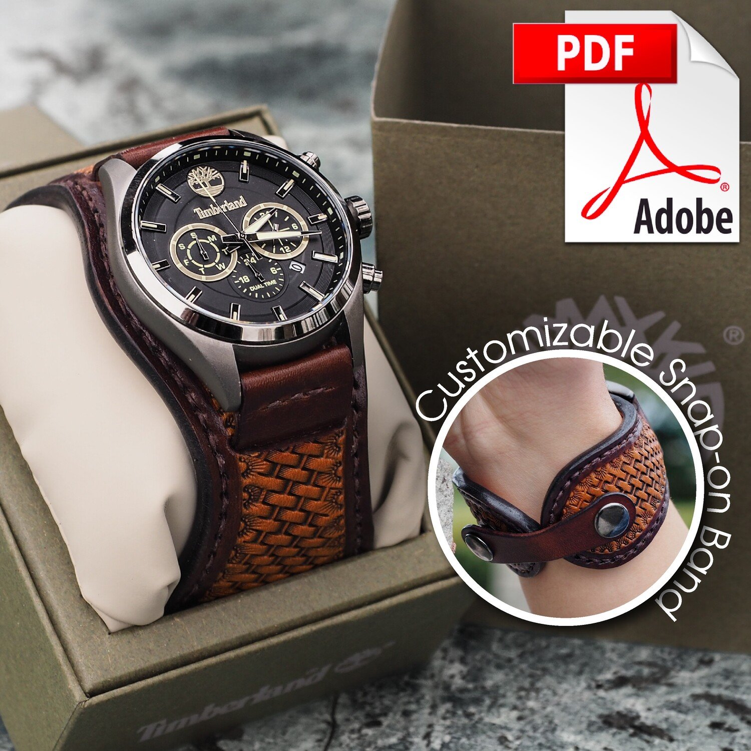 Artisan Leather Snap-On Watch Band & Snap-On Concho Bracelet Printable PDF Pattern