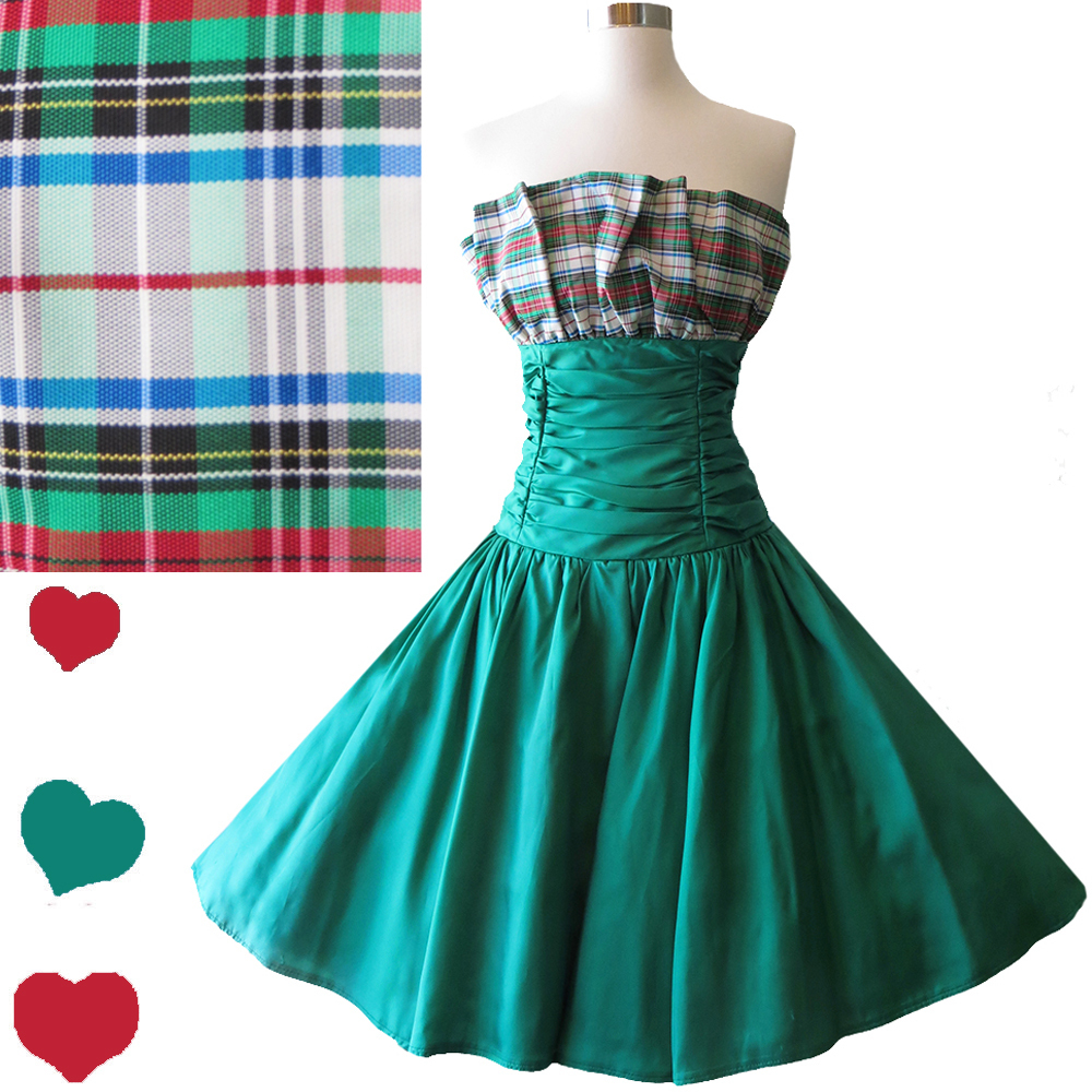 80s Green Plaid Party Dress S