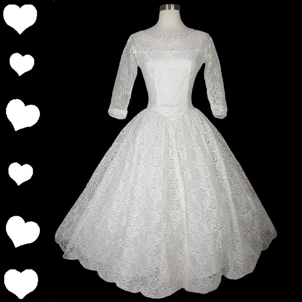 50s White Lace Full Skirt Wedding Dress XS