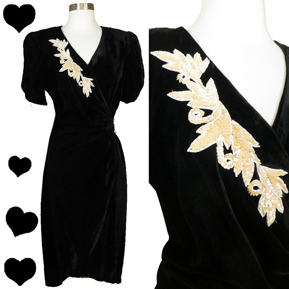 80s 40s Black Velvet WRAP Dress M