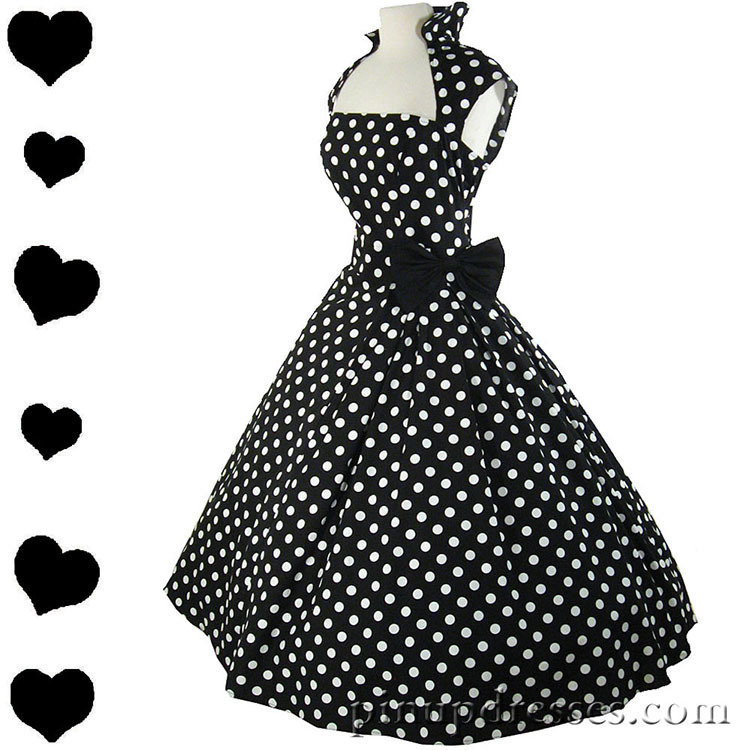 07214154227 New Retro Polka Dot Rockabilly Swing Dress