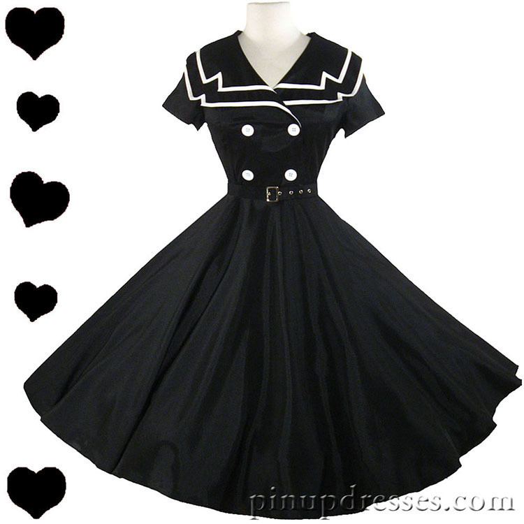 New Black Retro Sailor Uso Pinup Full Skirt Dress