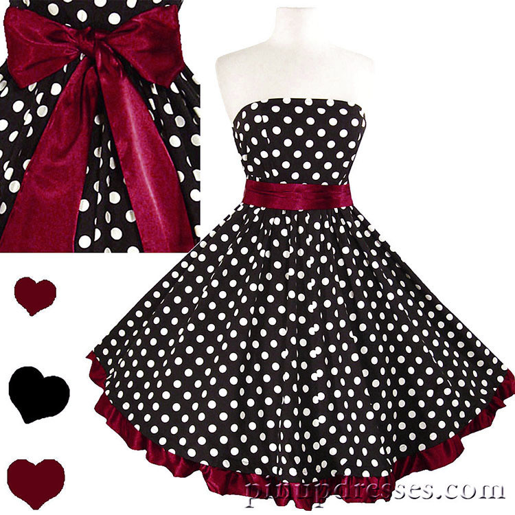 New Retro Polka Dot Burgundy Ruffle Strapless Dress