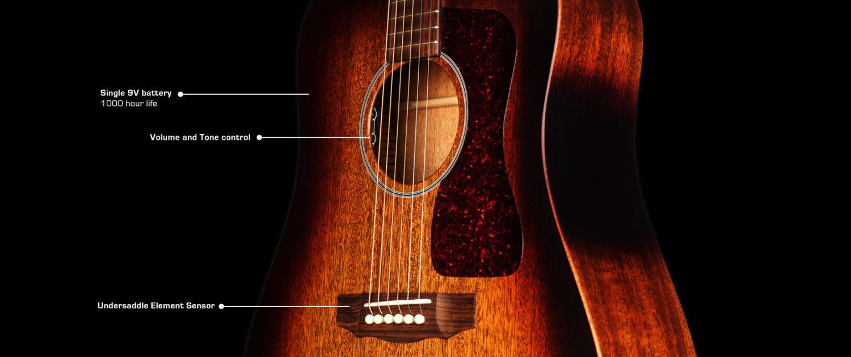 Guild D-20E - Vintage Sunburst - Solid Mahogany Top, Back, Sides - Acoustic Steel String Guitar - Hand Made in USA - LR Baggs Electronics