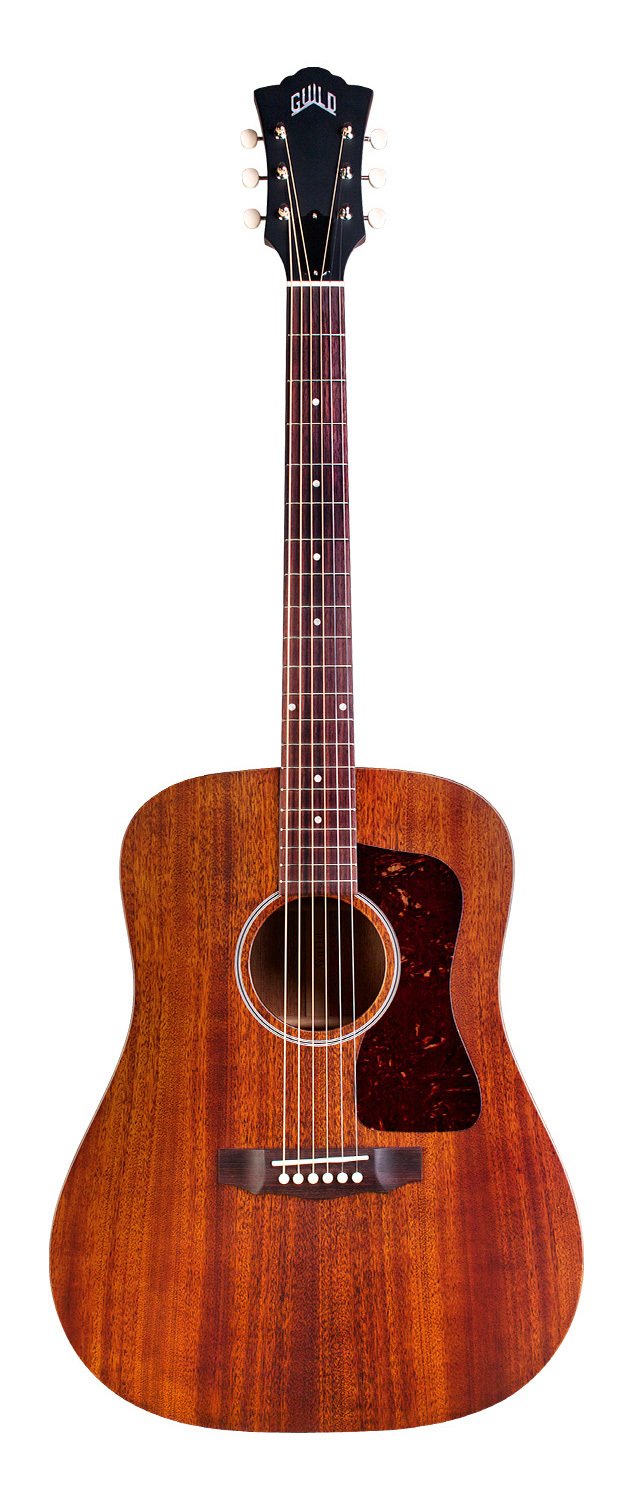 Guild D-20E - Natural - Solid Mahogany Top, Back, Sides - Acoustic Steel String Guitar - Hand Made in USA - LR Baggs Electronics 00309