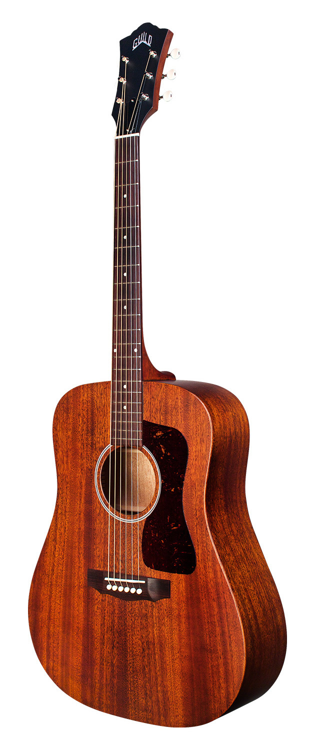 Guild D-20E - Natural - Solid Mahogany Top, Back, Sides - Acoustic Steel String Guitar - Hand Made in USA - LR Baggs Electronics