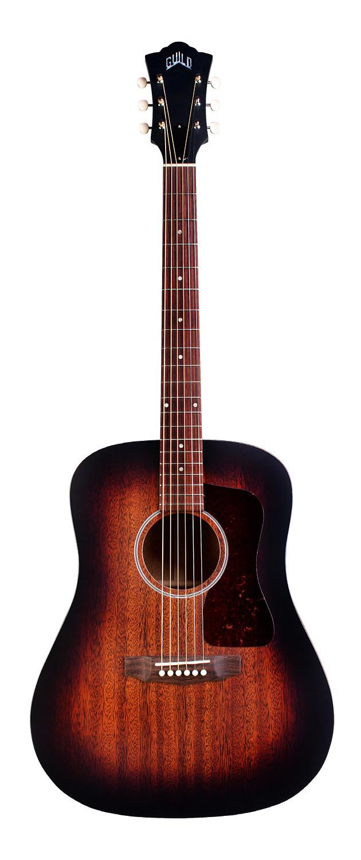 Guild D-20E - Vintage Sunburst - Solid Mahogany Top, Back, Sides - Acoustic Steel String Guitar - Hand Made in USA - LR Baggs Electronics 00310
