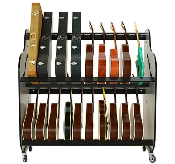 Classroom Double Stack Guitar Rack with Wheels - Multi Guitar/Case Storage Rack - Model # BRDG