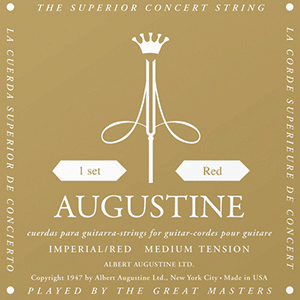 Augustine Imperial Red Classical Guitar Strings - Medium Tension Bass, High Tension Trebles