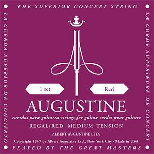Augustine Regal Red Classical Guitar Strings - Medium Tension Bass, Medium Tension Trebles