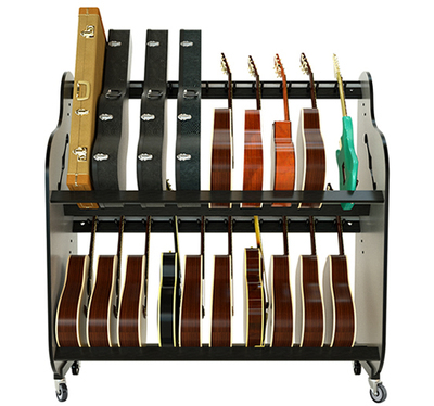 Classroom Double Stack Guitar Rack with Wheels - Multi Guitar/Case Storage Rack - Model # BRDG
