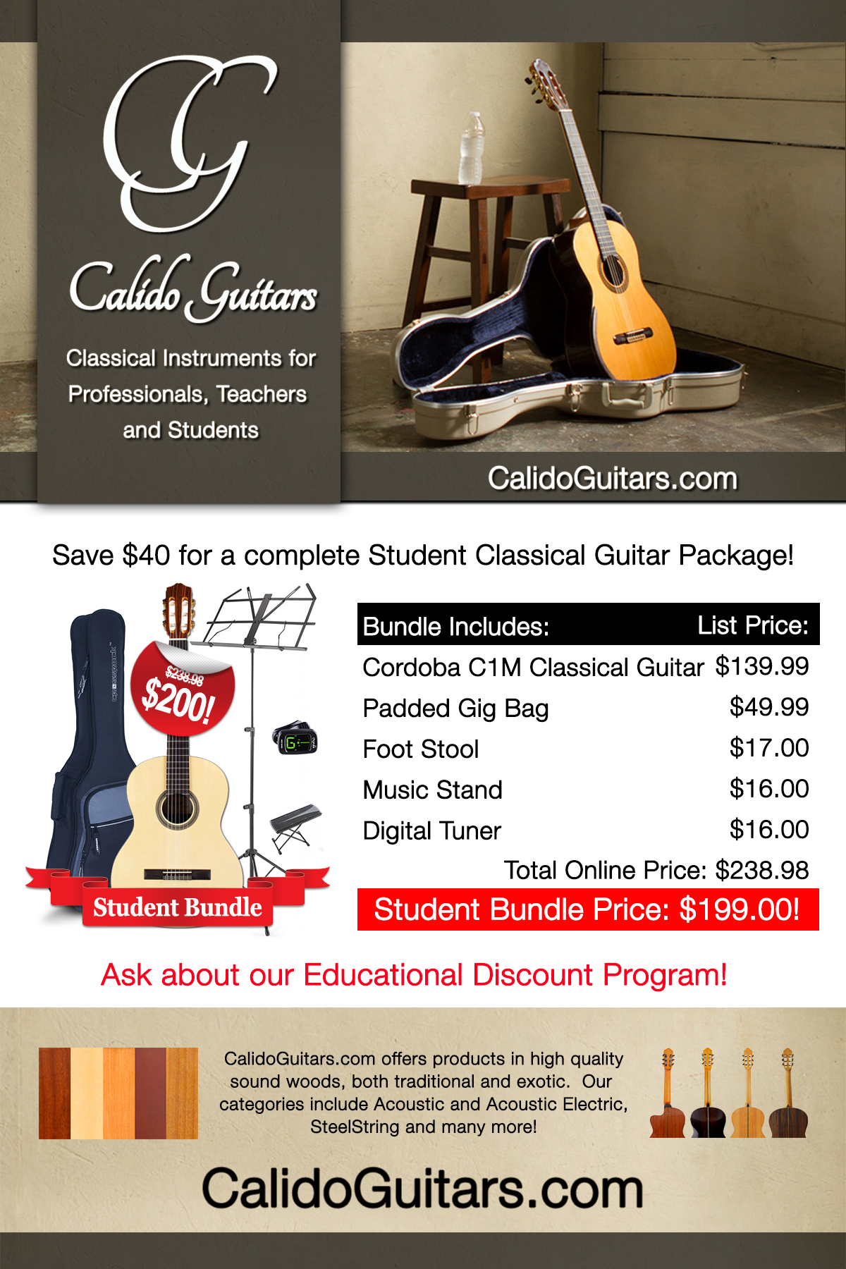 Calido Student Package - Classical Guitar - ¾ Size 00038