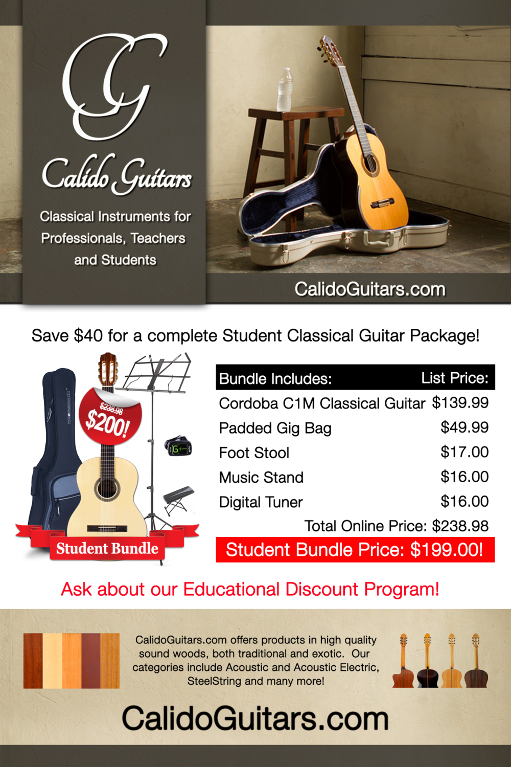 Calido Student Package - Classical Guitar - Full Size