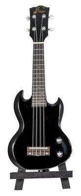 Aileen EU240 - SG Style - Soprano Size - Solid Body Electric Ukulele - Black