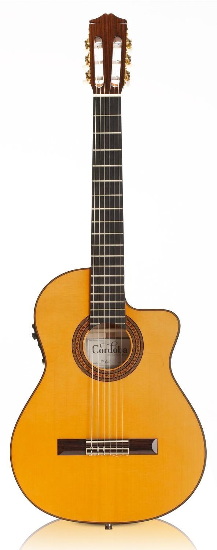 Cordoba 55FCE - Honey Amber, Thin Body Acoustic-Electric Nylon String Flamenco Guitar