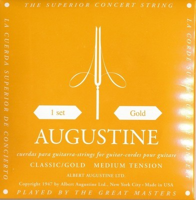 Augustine Classic Gold Classical Guitar Strings - Medium Tension Bass, Medium  Tension Trebles