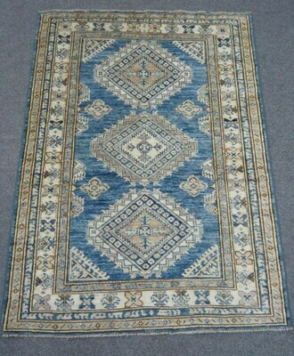 Fine Afghan Rug Blue/Cream