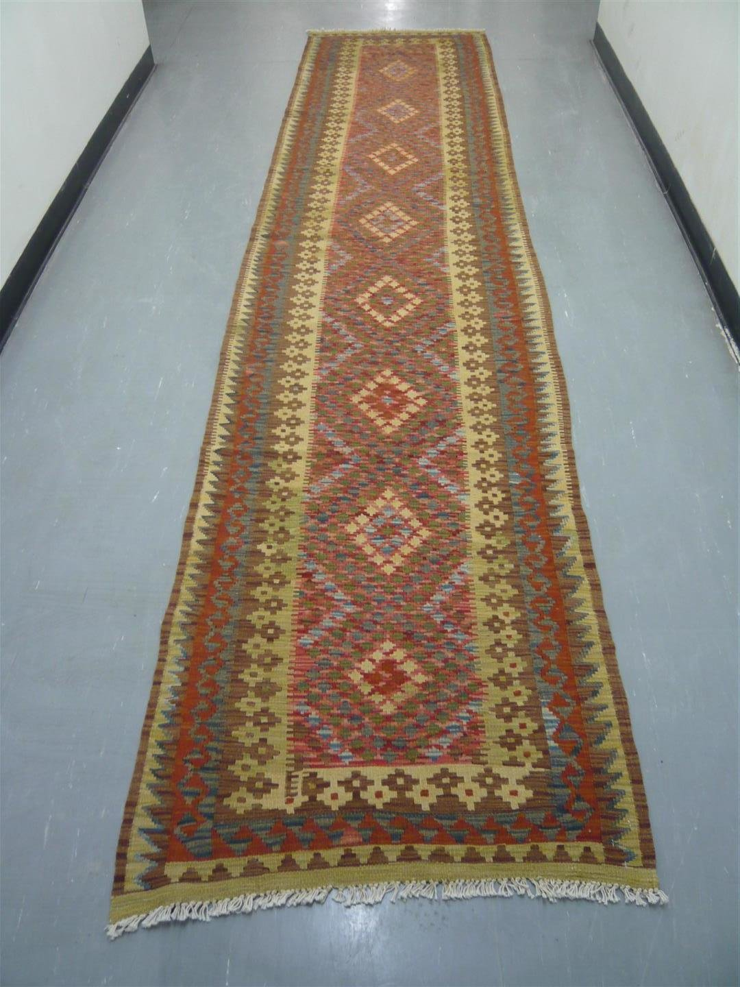 Natural Dyed Kilim Runner 12'9