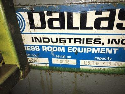 18″ Wide Dallas Industries Press Mount Servo Feeder For Sale