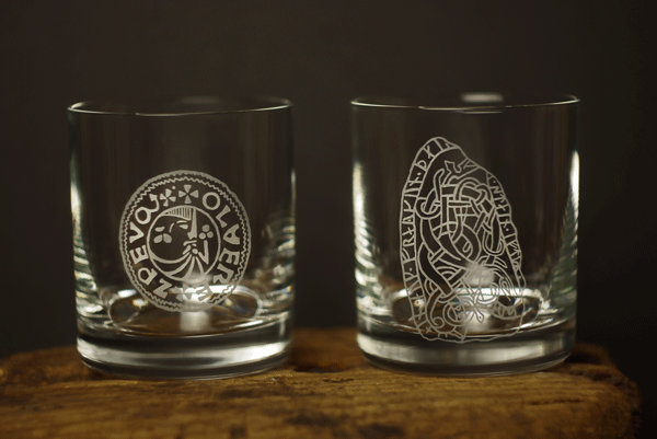 Whiskyglas, Vikingamotiv 2-pack i presentrör