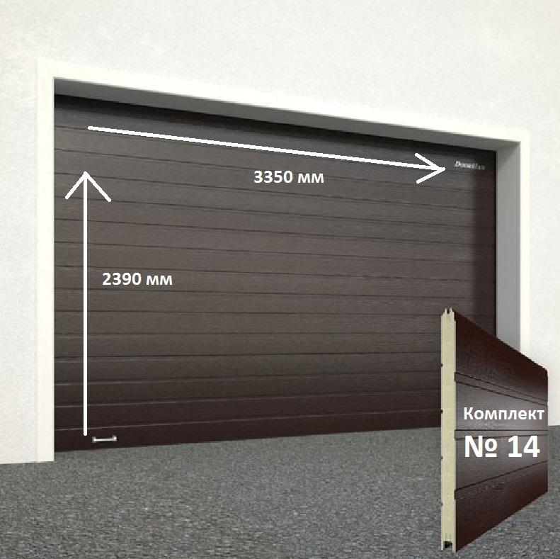 Ворота секционные серии RSD01SС №14 ширина 3350 высота 2390 доска, коричневые 11631