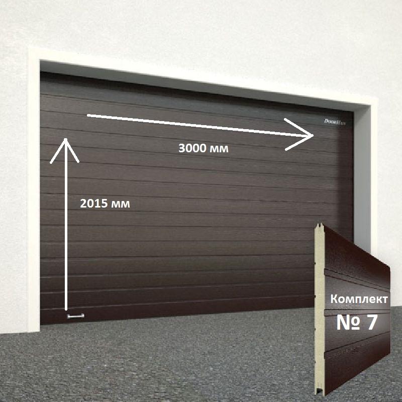 Ворота секционные серии RSD01SС №7 ширина 3000 высота 2015 доска, коричневые 11634