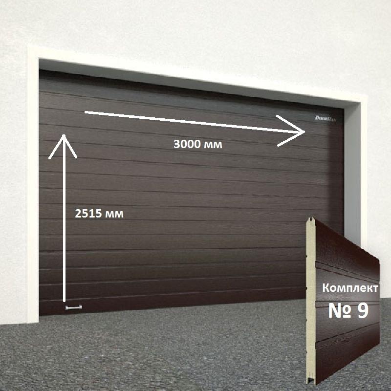 Ворота секционные серии RSD01SС №9 ширина 3000 высота 2515 доска, коричневые 8017 11635
