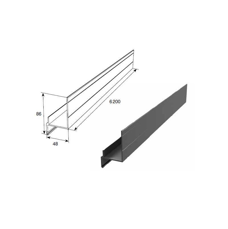 Алюминиевый профиль Ц-образный неравнополочный для полотна калитки 11686
