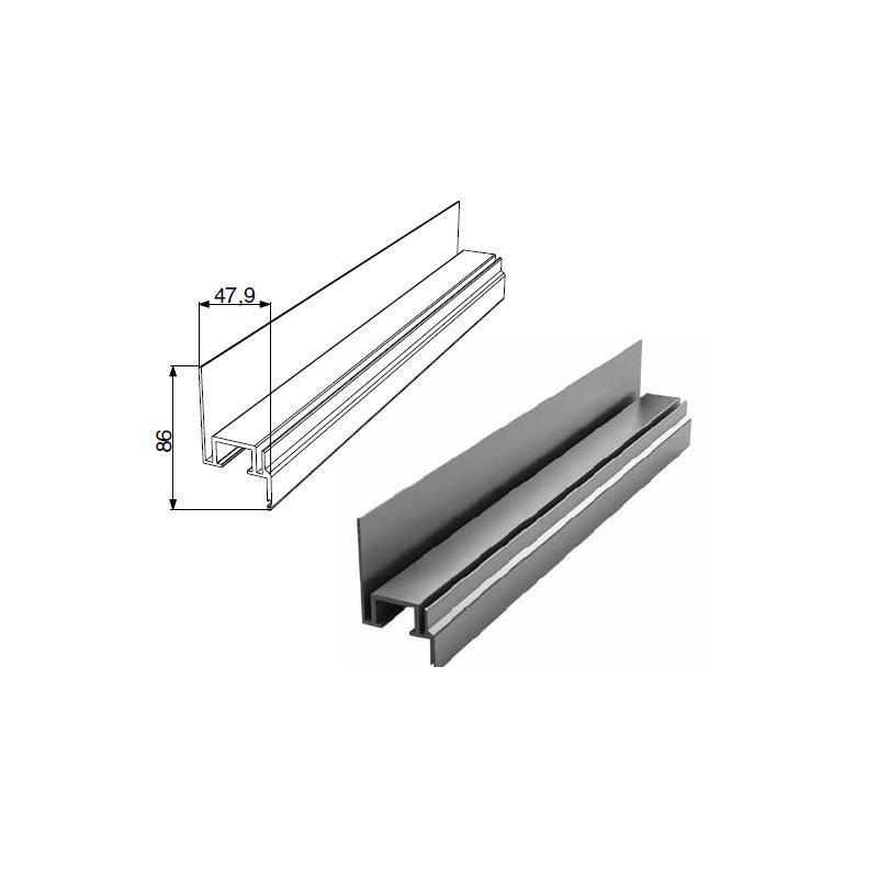 Алюминиевый профиль Ц-образный неравнополочный с шиной 11688