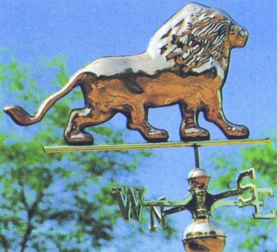 """Флюгер """"Лев"""" полированная медь, Италия 11882"""