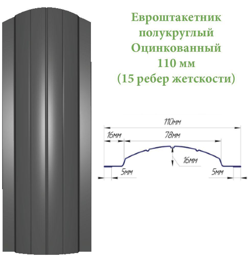 Евроштакетник оцинкованный полукруглыый 11870