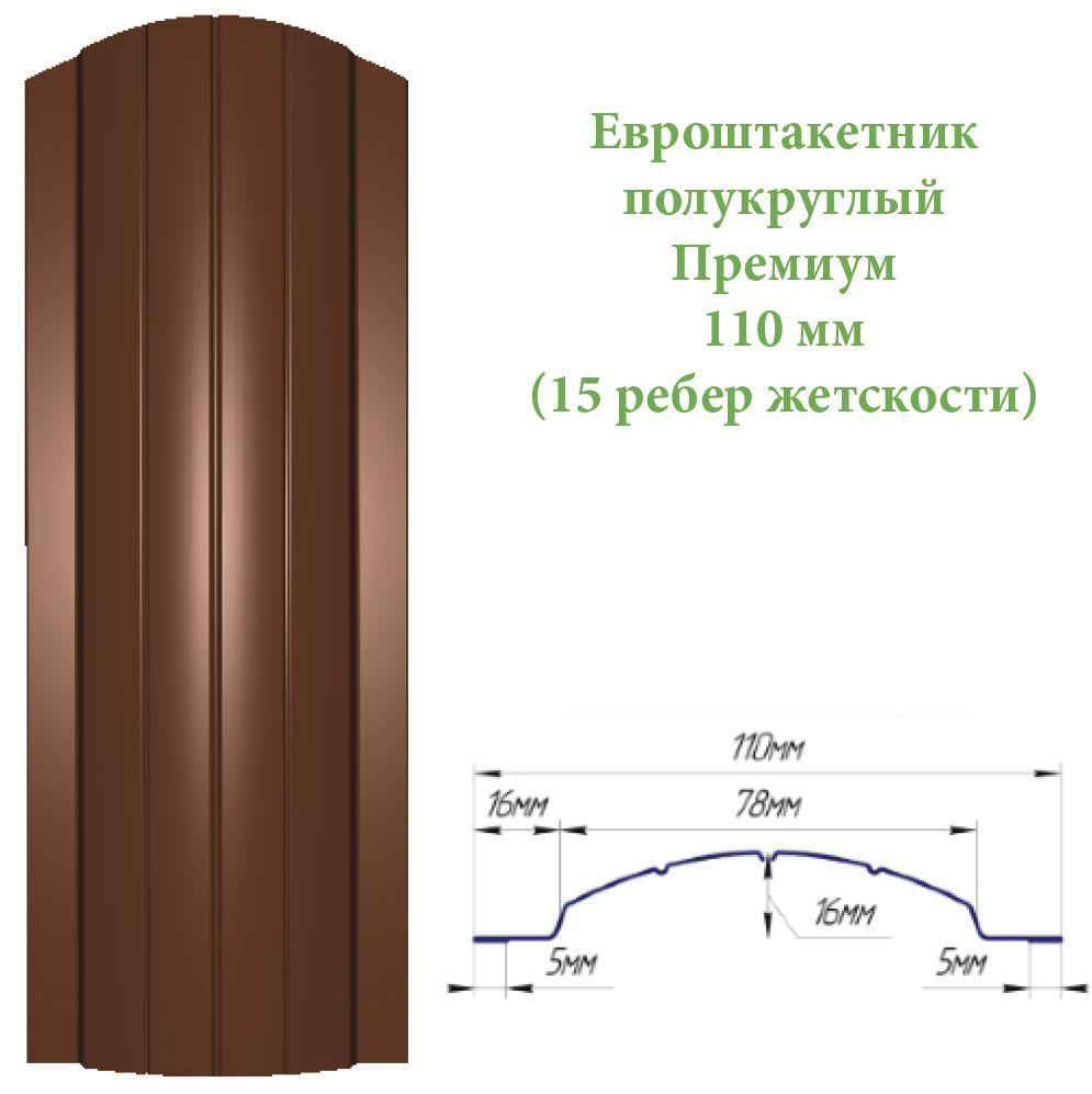 Евроштакетник премиум  полукруглый 11875