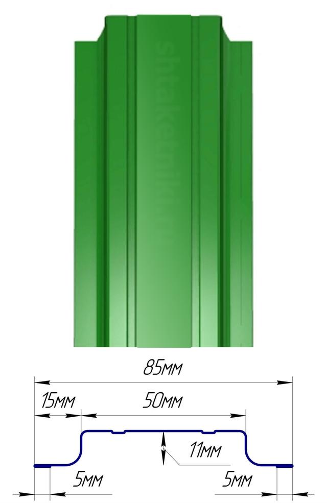 Евроштакетник  полиэстер двухстороннее покрытие П-образный узккий