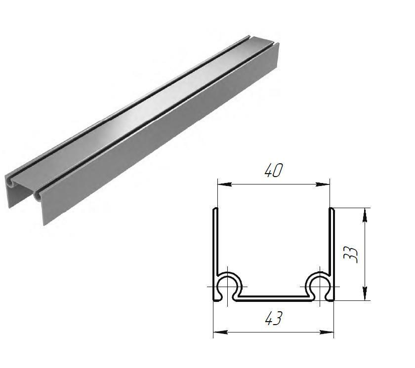 Алюминиевый верхний и нижний профиль металлик 11162
