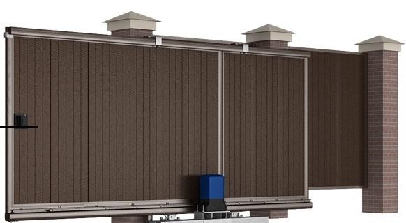Сдвижные уличные ворота 4000х2100 коричневые 00087