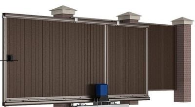 Сдвижные уличные ворота 5000х2100 коричневые
