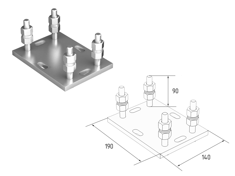Подставка регулируемая роликовой опоры для балок 71х60х3,5 11377