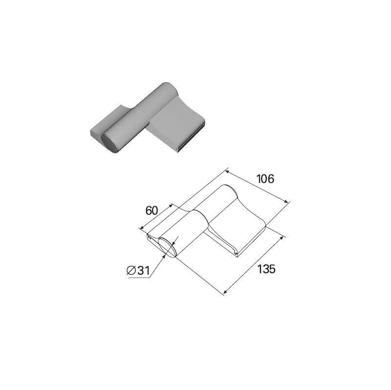 Петля двухсекционная серебристая (RAL9003) алюминиевая 11382