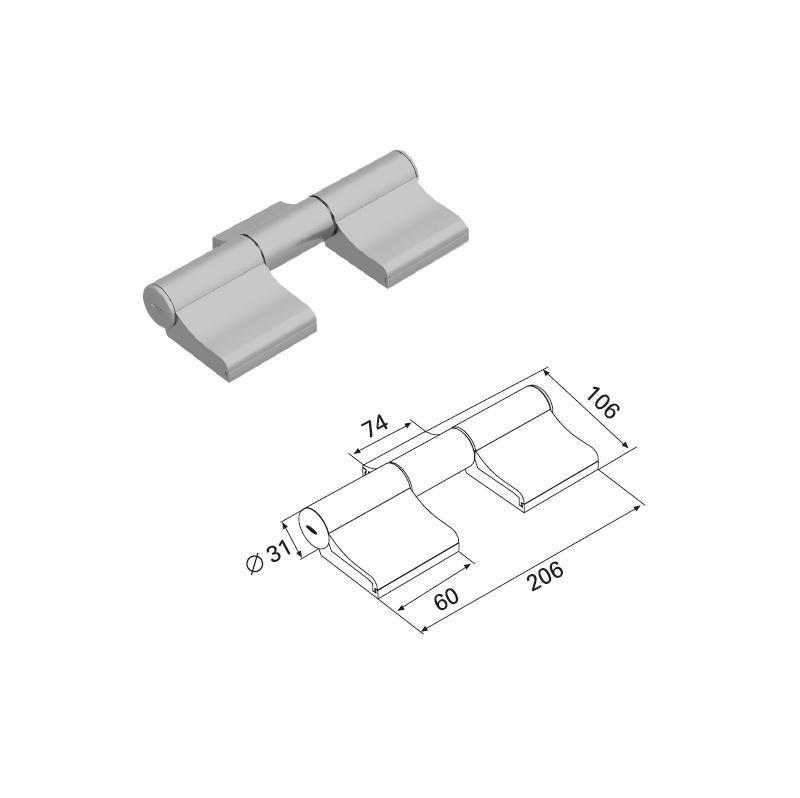 Петля трехсекционная бордо (RAL3005) алюминиевая 11383