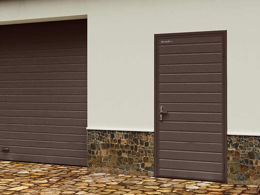 Дверь DoorHan /880/2050/Ультра(В)575/8017 доска/9003 доска/правая/с угловой рамой/серебро/ключ-ключ. 11537