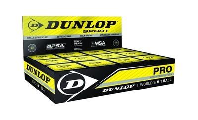 Dunlop Pro Ball Double Yellow Spot Squash Ball - Box of 12