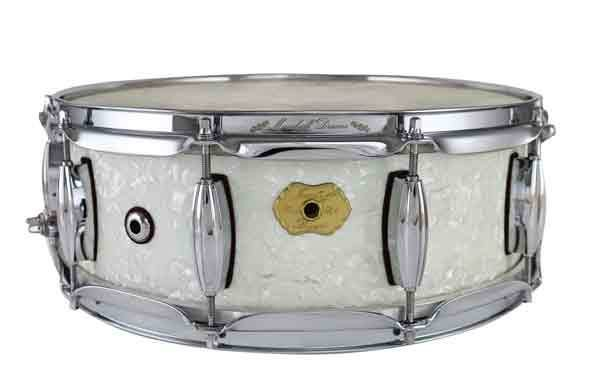 "Masshoff Drums 14""x 5"" Premium Stahl Snare Drum ""Rogers / White Marine Pearl"""