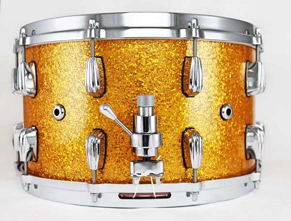 "Masshoff Drums 14""x 08"" Premium Stahl Snare Drum ""Big Chief Steel / Gold Sparkle"""