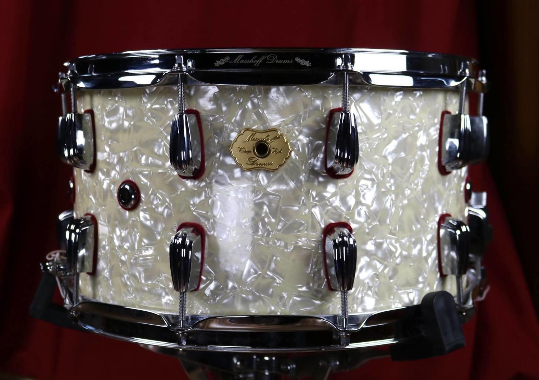 """Masshoff Drums 14""""x 08"""" Premium Stahl Snare Drum """"Big Chief Steel / White Pearl"""""""