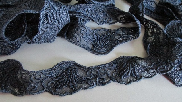 Navy Embossed Lace